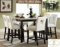 Contemporary Design 7PC Counter Hgt Set Offering-Choice Of White Or Black Chairs & Faux Marble Top