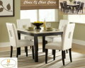 Clean Contemporary Dinette Featuring Faux Marble Top & Choice Of White Or Black Open Back Chairs