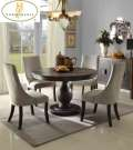 A Whole New Meaning For Traditional W/This 5PC Dinette W/Classic Pedestal Base & Soft Grayish Chairs