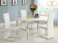 Ultra Contemporary 5-Piece Dinette Set Featuring Glossy White Table Top & Sleek Chrome Accents