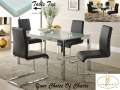 Crackle Glass Table Top Makes A Bold Statement In Your Modern Dining Room Offering Choice Of Chairs
