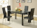 Add Flair To Your Dining Area W/This Modern 5PC Set W/White Baseball Stitching On Chairs & TableLegs