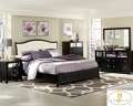 Glamour Reigns Supreme W/This 6-PC Pkg Faux Alligator Covered In Black Finish&Mirrored Drawer Fronts