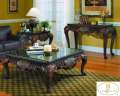 Truly Magnificent 3-PC Table Pkg Featuring Genuine Black Marble Tops On Rich Dark Cherry Finish