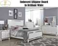 Glamorous White 6PC Bdrm Pkg Featuring Embossed Alligator Board In The Mirrors, Bed & Case Pieces