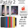 New Apple 64GB iPad Air 2 W/Touch ID, Retina Display & WiFi Plus Choice Of Cover Color & AppleCare+
