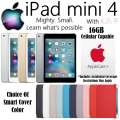Apple 16GB iPad Mini 4 With WiFi & Cellular Plus Choice Of Cover Color & AppleCare+ Protection Plan