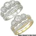 Fine Jewelry-Women's 14K 3-Stone Diamond Bridal Ring Set In White Gold Or Yellow Gold