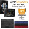 Kindle 64GB FireHDX 8.9 Tablet W/Keyboard, Lthr OrigamiCase & 2Yr Protection Plan+Accident Coverage