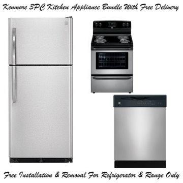 Kenmore 3 Piece Stainless Steel Kitchen Appliance Package Topfreezer Refrigerator Range