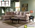 Microsuede Khaki 2-Piece Sectional Has it All; Classic Urban Styling Plus Contemporary Tables