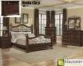 Go Back In Time W/This 6PC Pkg W/Iron Scroll Work On Bed Finished In Shades Of Browns/Reds