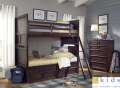Twin over Twin Bunk Bed Package in a Root Beer Finish; Features Kid Tough & Child Safe Details