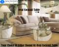 Natural Fossil Stone 3PC Table Collection W/Glass Tops Featuring Choice Of Rnd Or Oval Cocktail Tbl