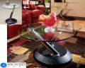 Sleek, Contemporary Design 3-Piece Table Set Featuring Swivel Cocktail Table & Glassed Fused Tops