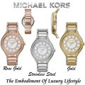 Michael Kors Women's Kerry Pave Watch With Mother Of Pearl Dial-Available in Rose, Gold, Or Silver