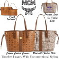 MCM Shopper Project Reversible Visetos Tote with Detachable Pouch - Available In Cognac