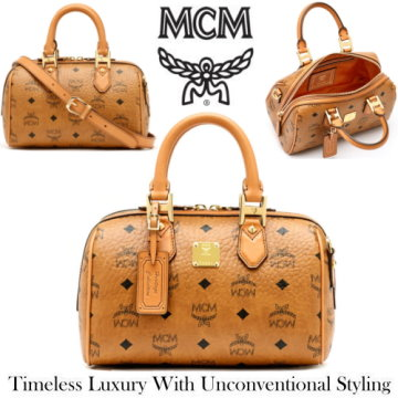 MCM Heritage Boston Satchel Bag & Detachable Crossbody Strap - Available In Cognac