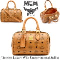MCM Heritage Boston Satchel Bag & Detachable Crossbody Strap - Available In Cognac