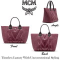 MCM Kissen Shopper Featuring Stitched Pattern Logo - Available In Wine