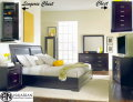 Fashion Forward 6PC Pkg W/Lingerie Chest W/4-Shelves & Mirror & Fully Quilted Uph Sleigh Headboard