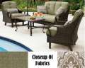 Ventura 4PC Outdoor Seating Patio Set Featuring Deep Seating Cushions & Inlaid Ceramic Table Top