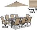 Premium Quality CastAluminum 7PC Outdoor DiningSet W/FREE 9� Umbrella/Base & 2-Swivel Rocking Chairs