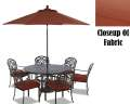 FREE 9� Umbrella & Base With Klaussner 7PC Heavy Cast Aluminum Dining Set With Plush Cushion Seating