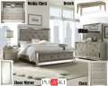 Glamour&Opulence Create This Bedroom Pkg W/Multi-Step Metallic Finish & Platinum Fabric On Headboard