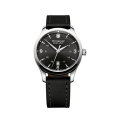 Swiss Army Alliance Black Leather Strap Men's Watch With Black Dial