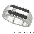 Fine Jewelry - Men's 14K Rectangular Onyx And Round Diamond Ring In White Gold