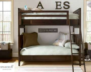 Sophisticated Twin/Twin Bunkbeds By Smartstuff In A Rich Mocha Finish & Smart Clever Pull Out Tray
