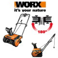 "Worx 18"" Electric 13 Amp Snow Thrower With Replaceable Rubber Tip No-Mar Steel Auger"