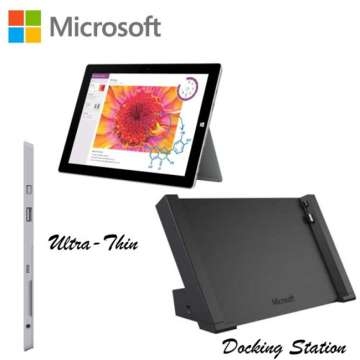 Microsoft Surface 3 64GB QuadCore Intel Tablet Computer W/Docking Station-Available in Silver Finish