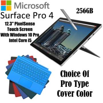 Microsoft 256GB SurfacePro 4 IntelCore i5 Tablet W/8GB RAM, Windows 10 Pro, Surface Pen & Type Cover