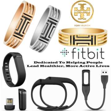 Tory Burch Metal Hinged Bracelet & Fitbit Flex With Extra Wristbands, FREE Membership & Mobile Apps