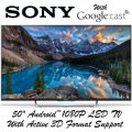 "Sony 50"" Android LED 1080P 3D HDTV With Built-In Google Cast� - Available In Black Flat Panel"