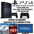 PS4-500GB Sports Bundle W/2-Games, 2-Wireless Controllers, Wired Mono Headset & Insignia 48