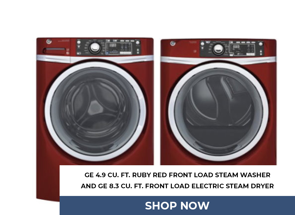 GE 4.9 Cu. Ft. Ruby Red Front Load Steam Washer and GE 8.3 Cu. Ft. Front Load Electric Steam Dryer