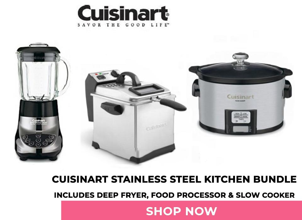 Cuisinart Stainless Steel Kitchen Bundle, Includes Deep Fryer, Food Processor & Slow Cooker