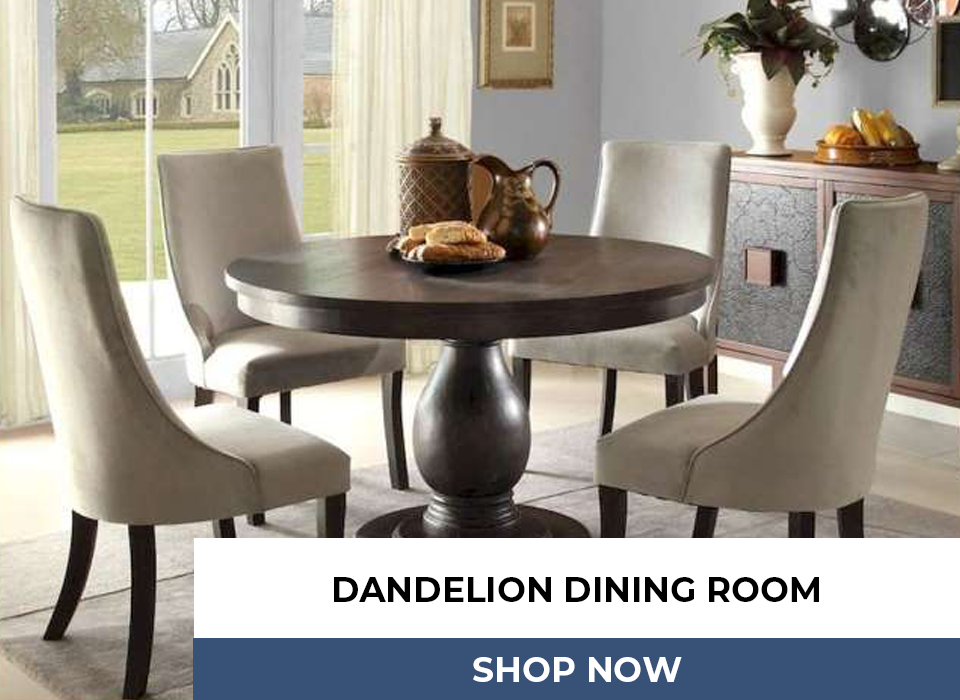 DANDELION DINING ROOM COLLECTION Traditional Does Not Need to Mean Old And Stuffy. Take the Sweeping Arm Of The Accenting Chairs Of The Dandelion Collection, And Traditional Takes On A Whole New Meaning