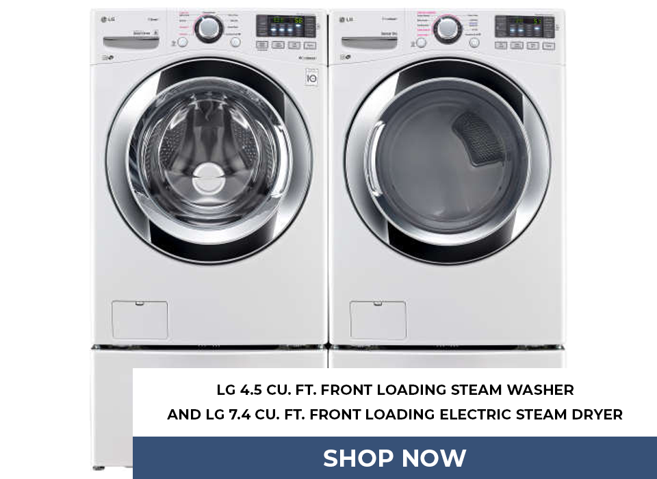 LG 4.5 Cu. Ft. Front Loading Steam Washer And LG 7.4 Cu. Ft. Front Loading Electric Steam Dryer