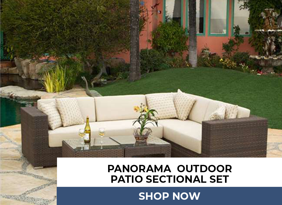 Panorama 4PC Outdoor Patio Deep Sectional Set Featuring All Weather Resin Wicker & Sunbrella Fabric