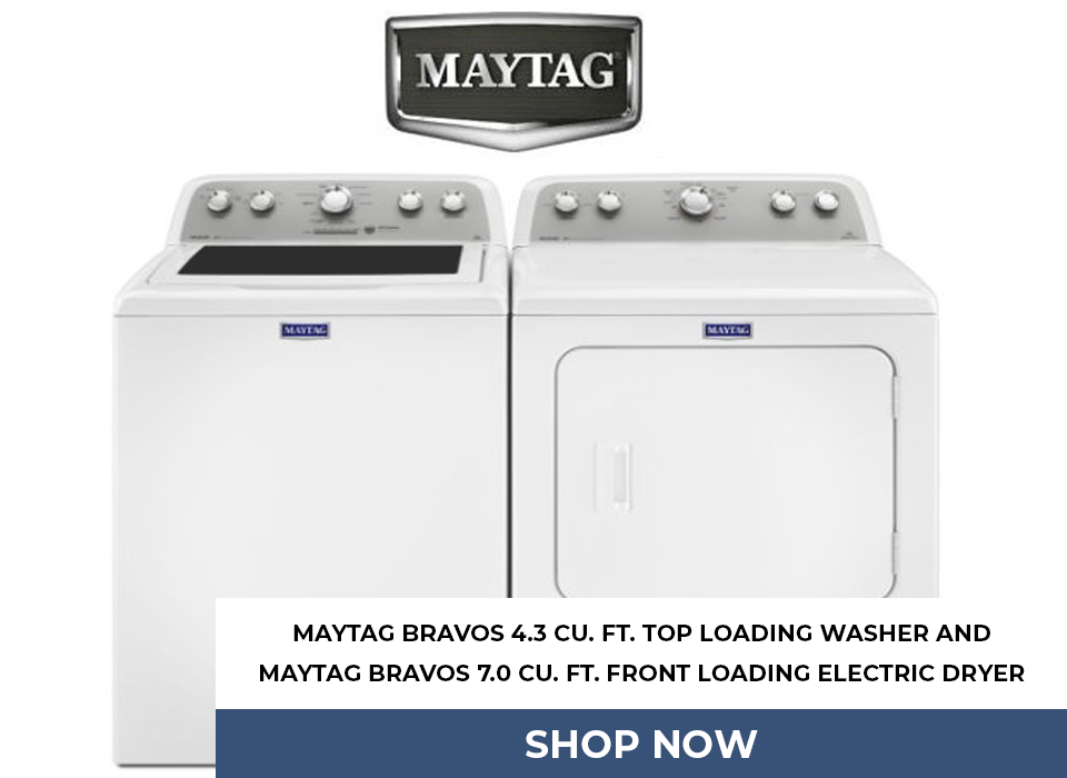 Maytag Bravos 4.3 Cu. Ft. Top Loading Washer And Maytag Bravos 7.0 Cu. Ft. Front Loading Electric Dryer