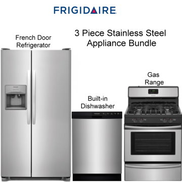 frigidaire 3pc appliance bundle featuring french door refrigerator appliance bundle packages   buy now pay later   financing   bad credit  rh   luthersales com