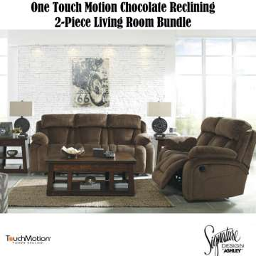 One Touch Motion Chocolate Reclining 2 Piece Living Room Bundle