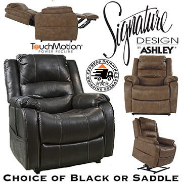 Your Choice Of Black Or Saddle Power Lift Recliner