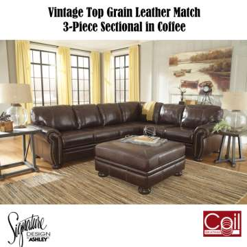 Vintage Top Grain Leather Match 3 Piece Sectional