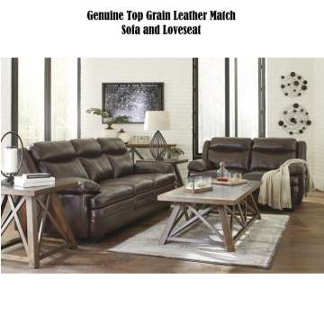 Genuine Top Grain Leather Match Sofa And Loveseat Package