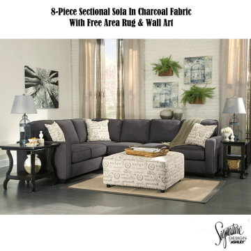 Free Area Rug U0026 Wall Art W/This 8 Piece Sectional